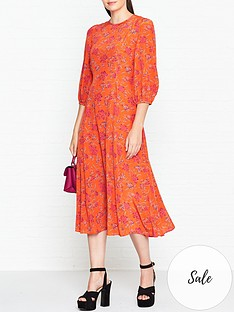 lk-bennett-iris-print-bell-sleeve-dress-orange
