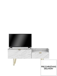 SWIFT Marbella Ready Assembled TV Unit - Marble Effect - fits up to 40 inch TV