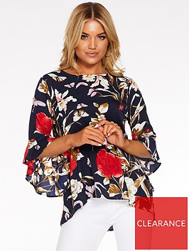 quiz-floral-frill-sleeve-top-navyred