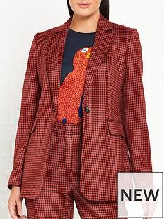 lk-bennett-ingrid-houndstooth-single-button-blazer-orangepink
