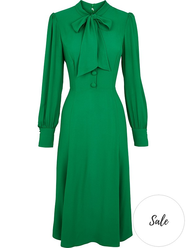 uk store premium selection fashion styles L.K. Bennett Mortimer Pussy Bow Midi Dress - Green | very.co.uk