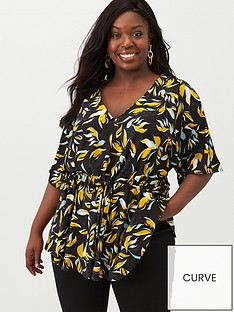 v-by-very-curve-ruche-waist-crepe-top-black-floral