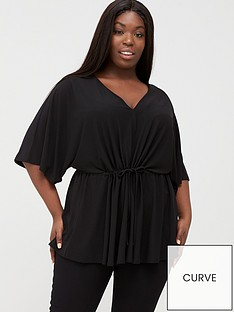 v-by-very-curve-ruche-waist-crepe-top-black