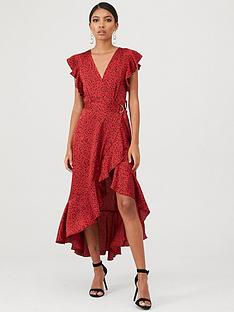 ax-paris-spotty-frill-wrap-dress-red