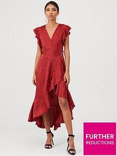 ax-paris-spotty-frill-wrap-dress-red