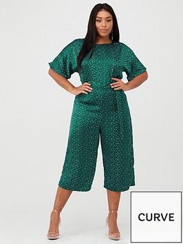 ax-paris-curve-printed-jumpsuit-green