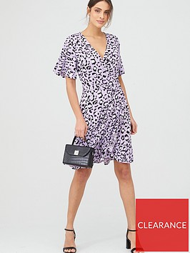 v-by-very-animal-print-frill-wrap-mini-dress-purple