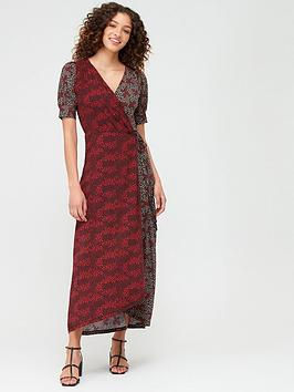 v-by-very-mixed-print-wrap-dress-rust-floral