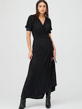 v-by-very-plisse-wrap-maxi-dress-black