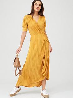 v-by-very-plisse-wrap-maxi-dress-mustard