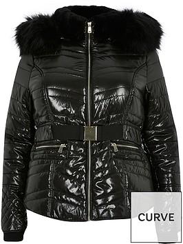 ri-plus-high-shine-padded-jacket-black