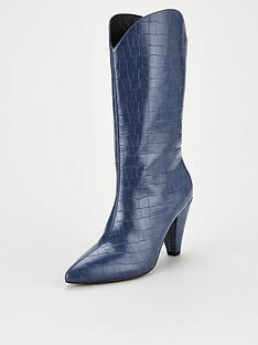 v-by-very-rodeo-cone-heel-western-calf-boots-blue