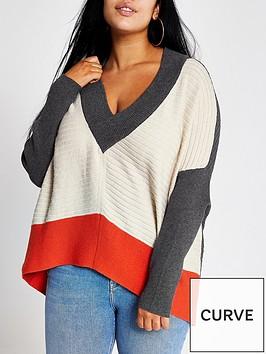 ri-plus-ri-plus-colour-block-batwing-sleeve-jumper--grey