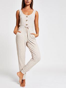 river-island-river-island-ribbed-jersey-pyjama-jumpsuit-cream