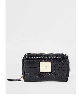 river-island-river-island-croc-mini-zip-around-purse-black