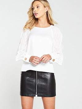 river-island-river-island-pleated-split-long-sleeve-top-white
