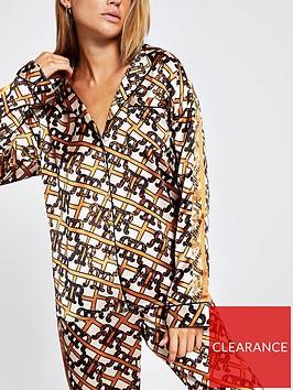 river-island-river-island-monogram-print-satin-pyjama-top-brown