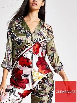 river-island-river-island-printed-satin-pyjama-shirt-khaki