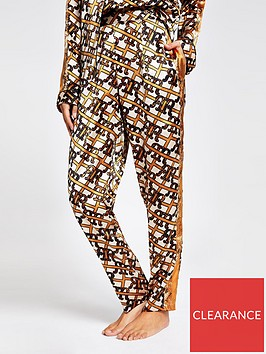 river-island-river-island-monogram-print-satin-pyjama-trouser-brown