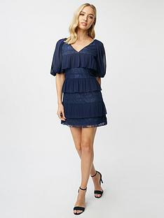 little-mistress-petite-lace-pleat-tiered-mini-dress-navy