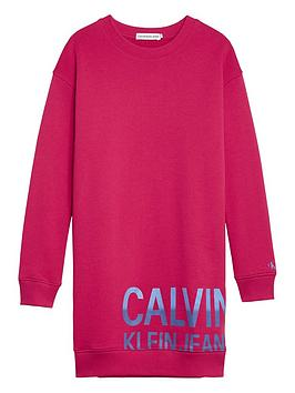 calvin-klein-jeans-girls-stamp-logo-sweat-dress-pink
