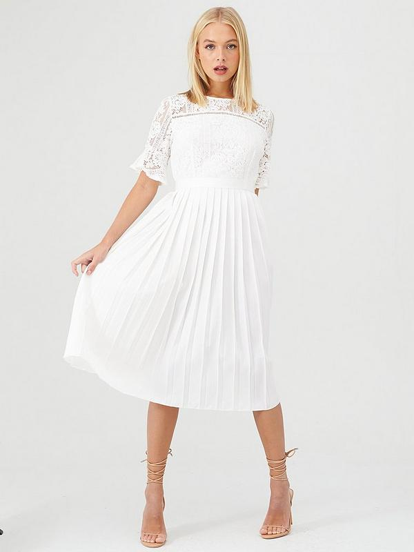 sale uk factory outlet exclusive shoes Little Mistress Floral Lace Pleated Midi Dress - White   very.co.uk