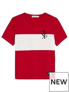calvin-klein-jeans-boys-short-sleeve-colour-block-monogram-t-shirt-red