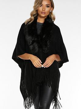 quiz-faux-fur-collar-knit-cape