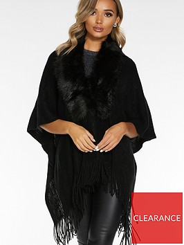 quiz-faux-fur-collar-knit-cape