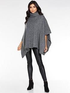 quiz-polo-neck-knit-poncho-grey