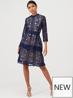 little-mistress-floral-lace-tiered-dress-navy