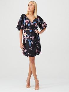 little-mistress-floral-puff-sleeve-wrap-dress-black