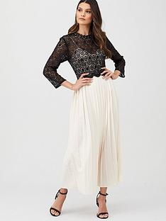 little-mistress-crochet-pleated-skirt-midaxi-dress-blackcream