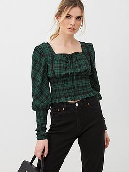 v-by-very-checked-blouson-sleeve-blouse-green-check