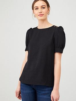 v-by-very-button-ruched-shortnbspsleeve-shell-top-black