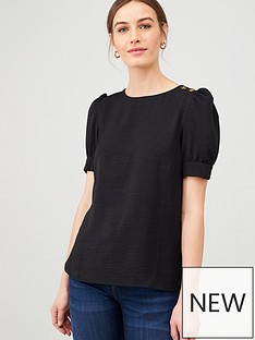 v-by-very-button-ruched-sleeve-shell-top-black