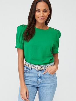 v-by-very-button-ruched-short-sleeve-shell-top-green