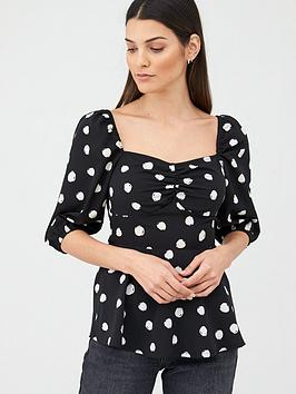 v-by-very-viscose-crepe-square-neck-bubble-sleeve-blouse-black