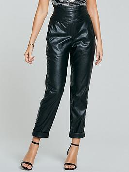 michelle-keegan-wrap-high-waisted-pu-trousers-black