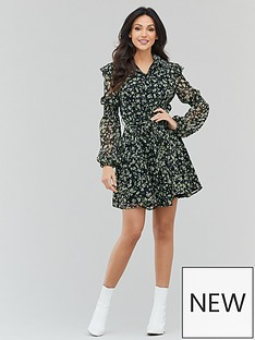 michelle-keegan-printed-ruffle-tea-dress-ditsy-floral
