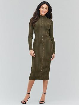 michelle-keegan-button-front-knitted-midi-dress-khaki