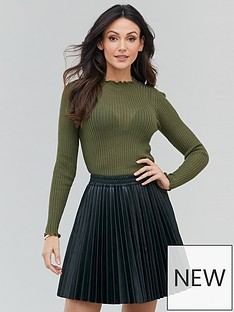 michelle-keegan-sheer-ribbed-knitted-turtle-neck-khaki