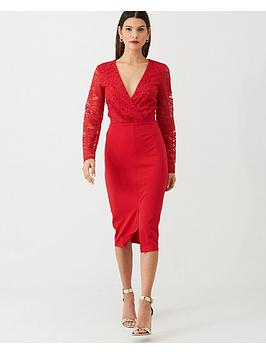 v-by-very-tie-waist-lace-pencil-dress-red