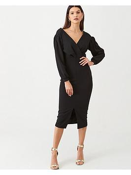 v-by-very-tie-waist-blouson-sleeve-dress-black