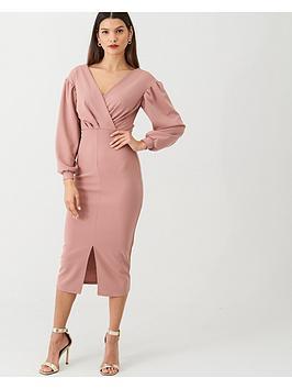 v-by-very-tie-waist-blousonnbspsleeve-dress-rose