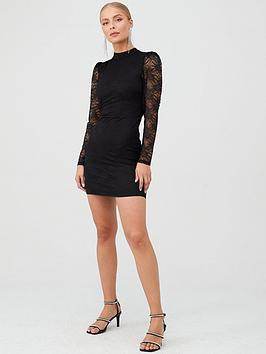 v-by-very-lace-puff-sleeve-mini-dress-black