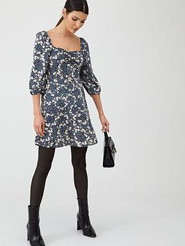 v-by-very-moss-crepe-puff-sleeve-tea-dress