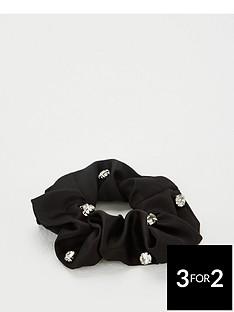 michelle-keegan-crystal-studded-hair-scrunchie-black