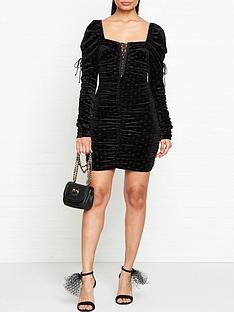 for-love-lemons-lola-lacing-detail-shirred-long-sleeve-dress-black