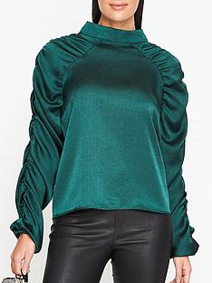 sofie-schnoor-lydia-ruched-sleeve-blouse-green